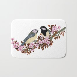Chickadee Couple on Cherry Branch Bath Mat