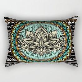 Lotus Mandala Pattern Rectangular Pillow