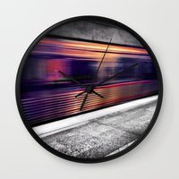 subway Wall Clocks featuring Subway by Yancey Wells