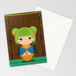 Punk Kokeshi_Green Stationery Cards