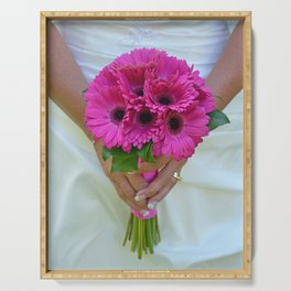 Pink gerber bridal bouquet Serving Tray