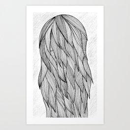 Long haired girl Art Print