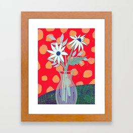 Daisies for You in Red Framed Art Print
