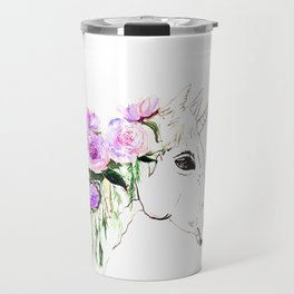 Unicorn with purple flowers Travel Mug