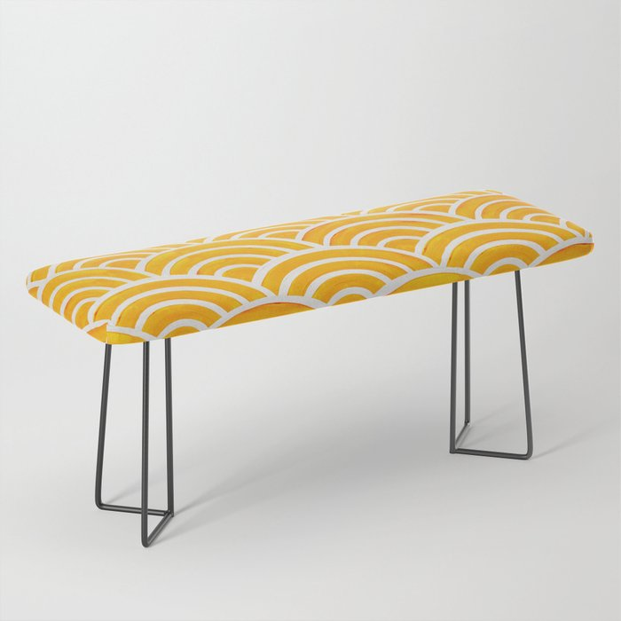 Japanese Seigaiha Wave – Marigold Palette Bench