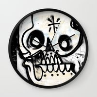 calavera Wall Clocks featuring Calavera by Happy Tao