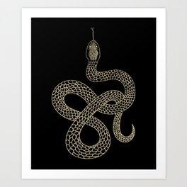 Vintage line snake Art Print
