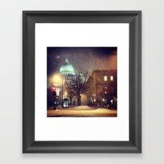 Capitol at Night in Snow Framed Art Print