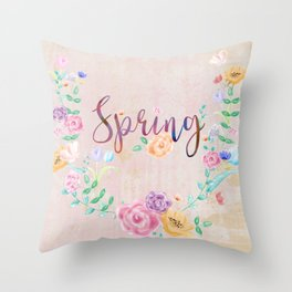 Watercolor Spring Floral Wreath Throw Pillow