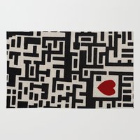 labyrinth Area & Throw Rugs featuring Love Labyrinth by Barruf designs