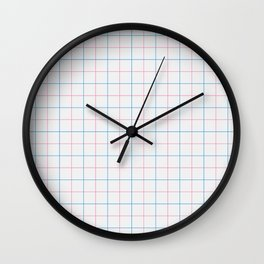 Grid Color Combination Blue Pink Wall Clock