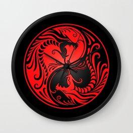 Yin Yang Dragons Red and Black Wall Clock