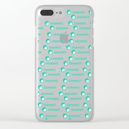 Tiny Tiled Steemit logo Clear iPhone Case