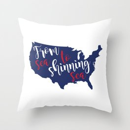 From sea to shinning sea Map American Flag distressed rustic patriotic independence 4th of July Throw Pillow