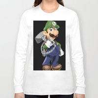 luigi Long Sleeve T-shirts featuring Luigi by Halohappy
