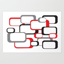Red Black Gray Retro Square Pattern White Art Print