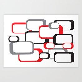 Red Black Gray Retro Square Pattern White Art Print