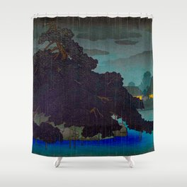 Vintage Japanese Woodblock Print Raining Landscape Tree On Rock Leaning Into The Lake Comforting Nig Shower Curtain