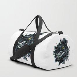 Grunge Velociraptor Portrait Duffle Bag