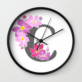 Letter C Floral Monogram Wall Clock