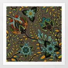 Boho Floral Pattern 17 Art Print
