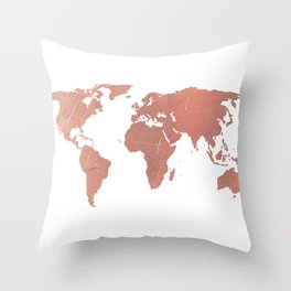Faux Rose Gold World Map Throw Pillow