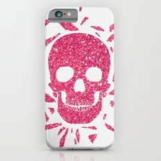 Girly Pink Glitter Abstract Skull Cool Photo Print Slim Case iPhone 6s
