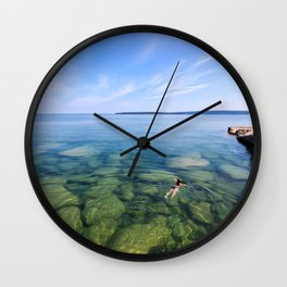 Serenity Swim in Lake Superior Wall Clock