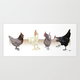 Quad of Chickens Art Print