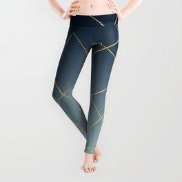 Geometric Gold Lines Blue Gradient Design Leggings