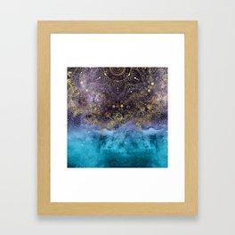 Gold floral mandala and confetti image Framed Art Print