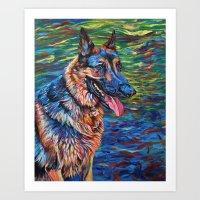 german shepherd Art Prints featuring German Shepherd by Elizabeth Dillinger