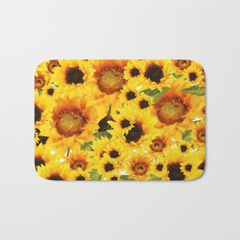 Wild yellow Sunflower Field Illustration Bath Mat