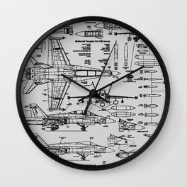 F-18 Blueprints // Light Grey Wall Clock