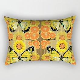 YELLOW MONARCH BUTTERFLY & ORANGES MODERN ART Rectangular Pillow