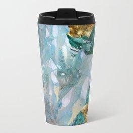 WHITE QUARTZ &  AQUAMARINE CRYSTALS  ON GOLD Travel Mug