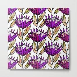 Modern Floral Protea Purple #homedecor Metal Print