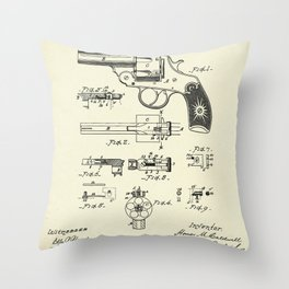 Cylinder Catch for Revolvers-1890 Throw Pillow