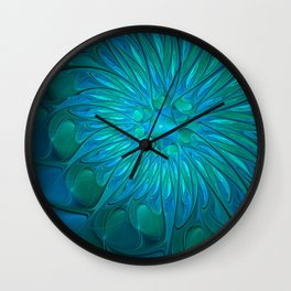 Floral in Sea Colors Wall Clock