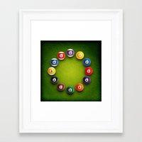novelty Framed Art Prints featuring Billiards Snooker Novelty Clock by KittyBitty