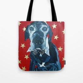 Starry Leonard the Black Lab Dog Portrait Tote Bag