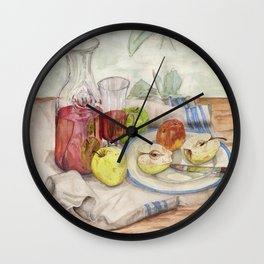 Still life of fruit and wine - Painting Wall Clock