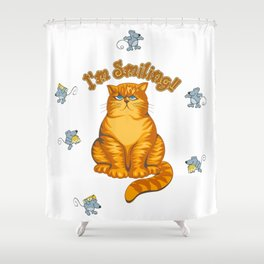 Smiling Cat Shower Curtain