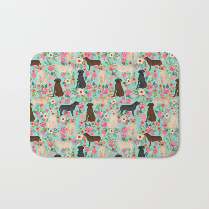 Labrador Retriever dog breed floral pattern for dog lover chocolate lab golden retriever labradors Bath Mat