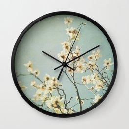 Magnolia blossoms. Mint Wall Clock