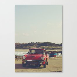 Triumph Spitfire by the sea, with ship, fine art photo, british car, sports car, color, high definit Canvas Print