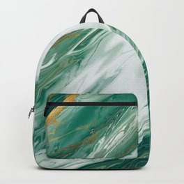 Emerald Jade Green Gold Accented Painted Marble Backpack