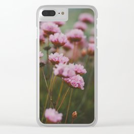 Pale Pink Flowers Clear iPhone Case