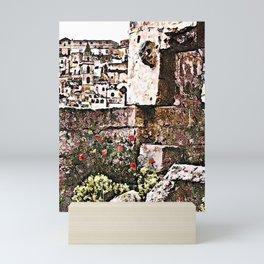Sassi di Matera: stones and flowers Mini Art Print