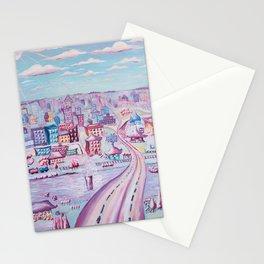 Hello, Lynchburg - Whimsical Painting of Lynchburg, Virginia by Myles Katherine Stationery Cards